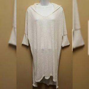 Elan Beach LARGE White Cover Up Hood Tunic Dress